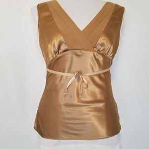 1176 NWOT George Stretch Gold Satin/Sheer Top XS